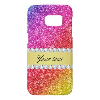 Faux Rainbow Glitter Diamonds Personalized