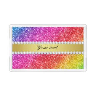 Faux Rainbow Glitter Diamonds Personalized Acrylic Tray