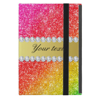 Faux Rainbow Glitter Diamonds Personalized Case For iPad Mini