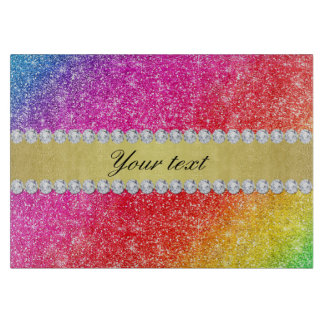 Faux Rainbow Glitter Diamonds Personalized Cutting Board