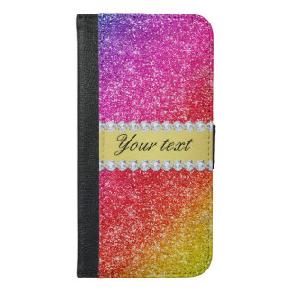 Faux Rainbow Glitter Diamonds Personalized iPhone 6/6s Plus Wallet Case