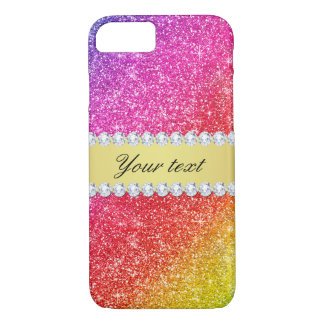 Faux Rainbow Glitter Diamonds Personalized iPhone 8/7 Case