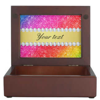 Faux Rainbow Glitter Diamonds Personalized Keepsake Box