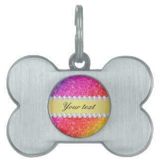 Faux Rainbow Glitter Diamonds Personalized Pet Tag