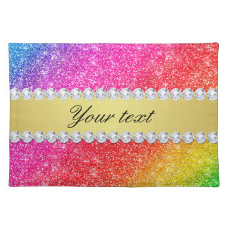 Faux Rainbow Glitter Diamonds Personalized Placemat