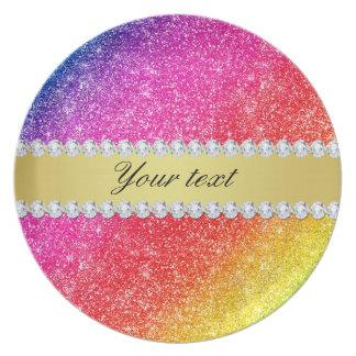 Faux Rainbow Glitter Diamonds Personalized Plate