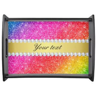 Faux Rainbow Glitter Diamonds Personalized Serving Tray