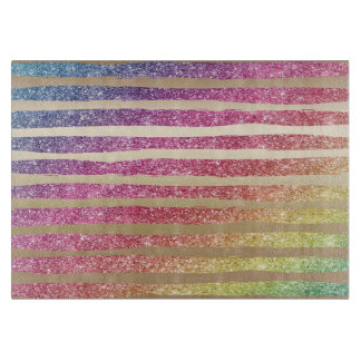 Faux Rainbow Glitter Gold Stripes Cutting Board
