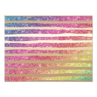 Faux Rainbow Glitter Gold Stripes Photo Print