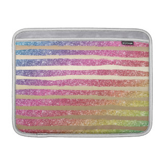 Faux Rainbow Glitter Gold Stripes Sleeves For MacBook Air