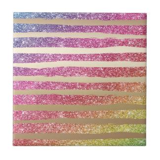 Faux Rainbow Glitter Gold Stripes Small Square Tile