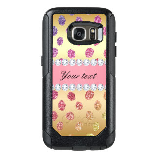 Faux Rainbow Glitter Spots Diamonds Gold OtterBox Samsung Galaxy S7 Case