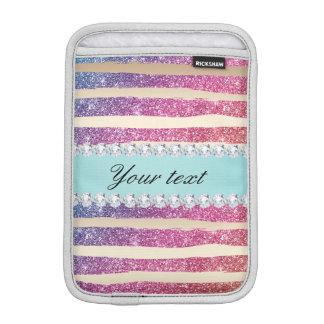 Faux Rainbow Glitter Stripes Diamonds Gold iPad Mini Sleeves