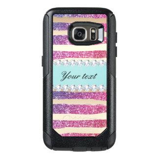 Faux Rainbow Glitter Stripes Diamonds Gold OtterBox Samsung Galaxy S7 Case