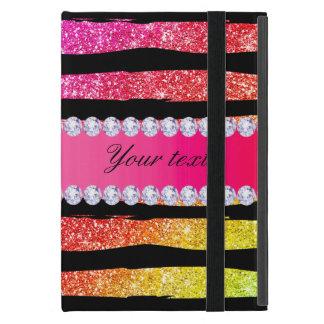 Faux Rainbow Neon Glitter Stripes Diamonds Black iPad Mini Cover
