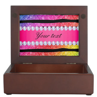 Faux Rainbow Neon Glitter Stripes Diamonds Black Keepsake Box