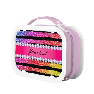 Faux Rainbow Neon Glitter Stripes Diamonds Black Lunch Box