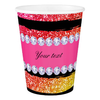 Faux Rainbow Neon Glitter Stripes Diamonds Black Paper Cup
