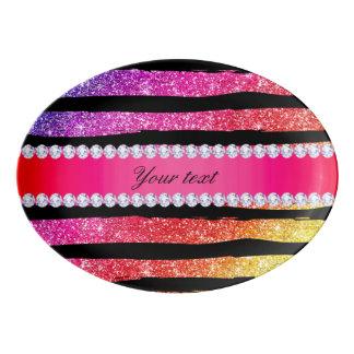 Faux Rainbow Neon Glitter Stripes Diamonds Black Porcelain Serving Platter