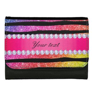 Faux Rainbow Neon Glitter Stripes Diamonds Black Wallets
