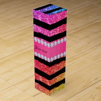 Faux Rainbow Neon Glitter Stripes Diamonds Black Wine Box