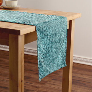 Faux Rattan Teal Turquoise Zigzag Weave Pattern Medium Table Runner