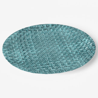 Faux Rattan Teal Turquoise Zigzag Weave Pattern Paper Plate