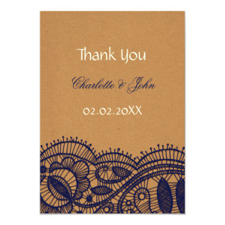 Faux Recycle Paper,  Lace wedding Thank You 13 Cm X 18 Cm Invitation Card