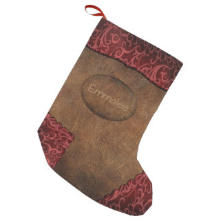 Faux Red Brown Monogram Leather Small Christmas Stocking