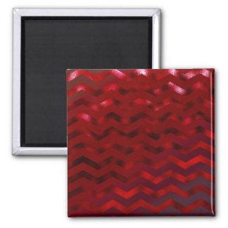 Faux Red Burgundy Black Foil Texture Chevron Square Magnet