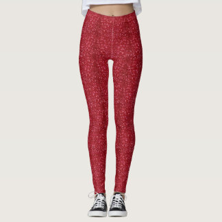 Faux Red Glitter And Glamour Leggings