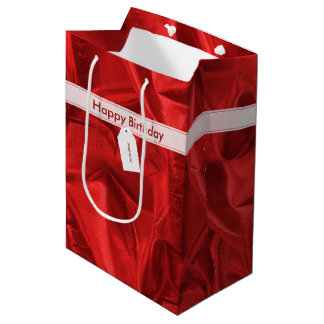 Faux Red Lame' Metallic Printed Texture Medium Gift Bag