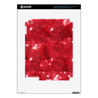 Faux Red Sequin Pattern Image Decals For iPad 3