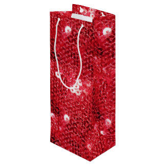 Faux Red Sequin Pattern Image Wine Gift Bag
