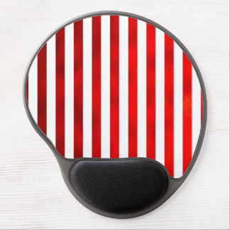 "Faux Red White Vertical Stripes ""Candy Stripe"" Gel Mouse Pad"