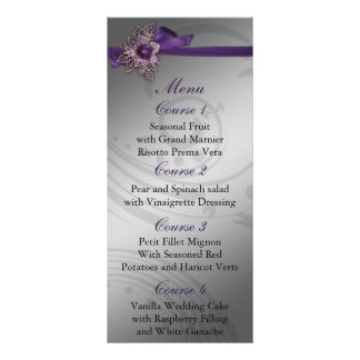 FAUX ribbon purple and silver wedding menu Full Colour Rack Card