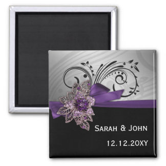FAUX ribbon purple Save the date magnets Refrigerator Magnets