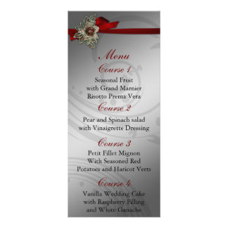 FAUX ribbon red and silver wedding menu Full Colour Rack Card