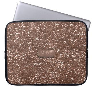 Faux Rose Gold 3D Monogram Glitter Laptop Sleeve