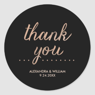 Faux Rose Gold and Black Dotted Wedding Thank You Classic Round Sticker