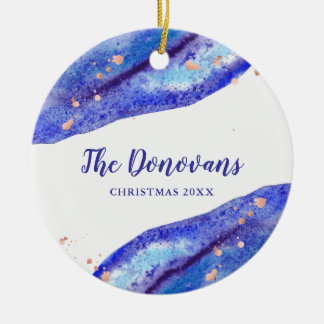 Faux Rose Gold and Watercolor Blue Geode | Photo Ceramic Ornament