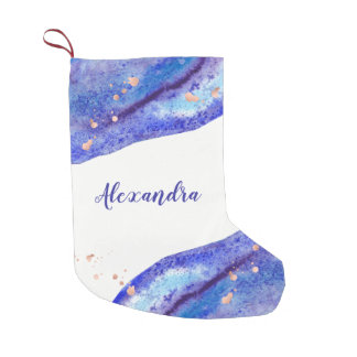 Faux Rose Gold and Watercolor Blue Geode with Name Small Christmas Stocking