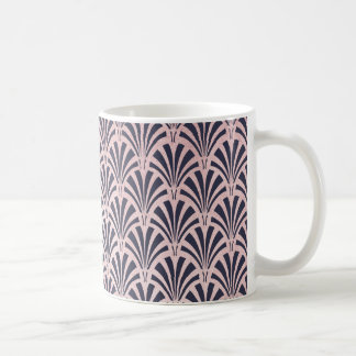 Faux Rose Gold Art Deco Pattern on Midnight Blue Coffee Mug