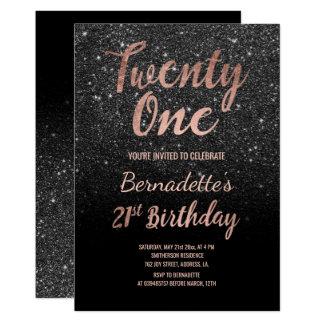 Faux rose gold black glitter 21st Birthday Card