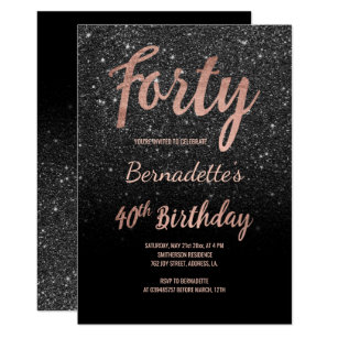Faux Rose Gold Black Glitter 40th Birthday Invitation