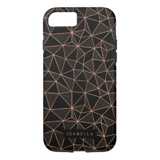Faux Rose Gold & Black Modern Geometric iPhone 8/7 Case