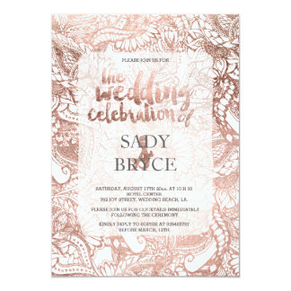 Faux rose gold boho floral hand drawn wedding (2) 13 cm x 18 cm invitation card
