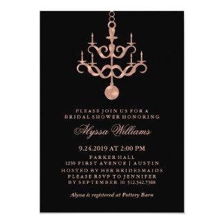 Faux Rose Gold Chandelier on Black Bridal Shower Card