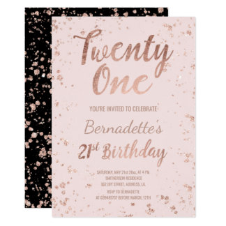 Faux rose gold confetti blush 21st Birthday 13 Cm X 18 Cm Invitation Card