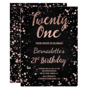 Faux rose gold confetti chalkboard 21st Birthday Invitation